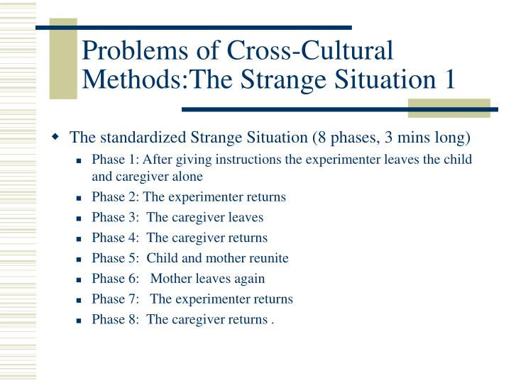 Problems of Cross-Cultural Methods:The Strange Situation 1