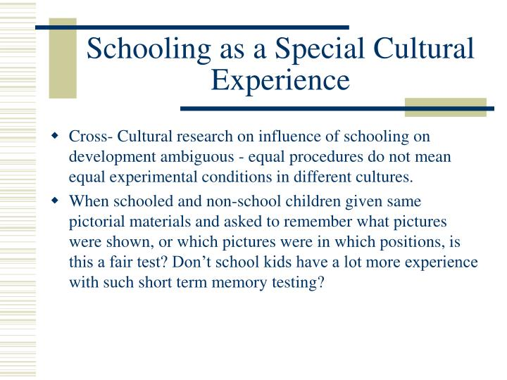 Schooling as a Special Cultural Experience