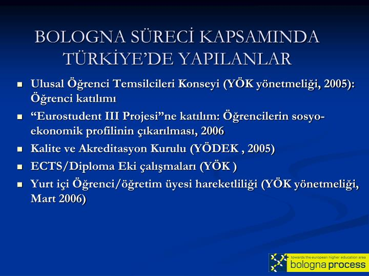 BOLOGNA SÜRECİ KAPSAMINDA TÜRKİYE'DE YAPILANLAR