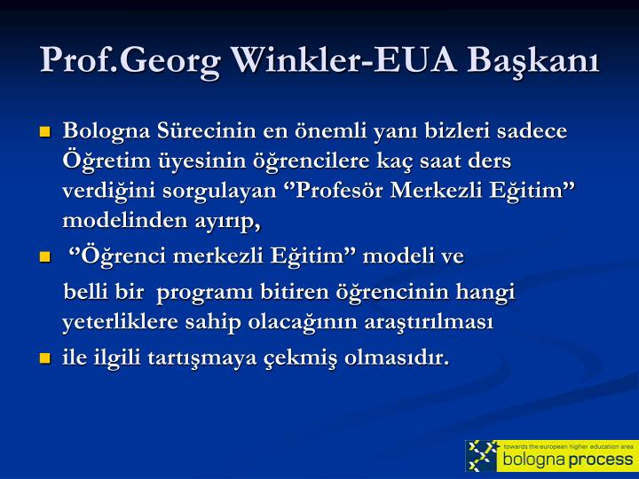 Prof.Georg Winkler-EUA Başkanı