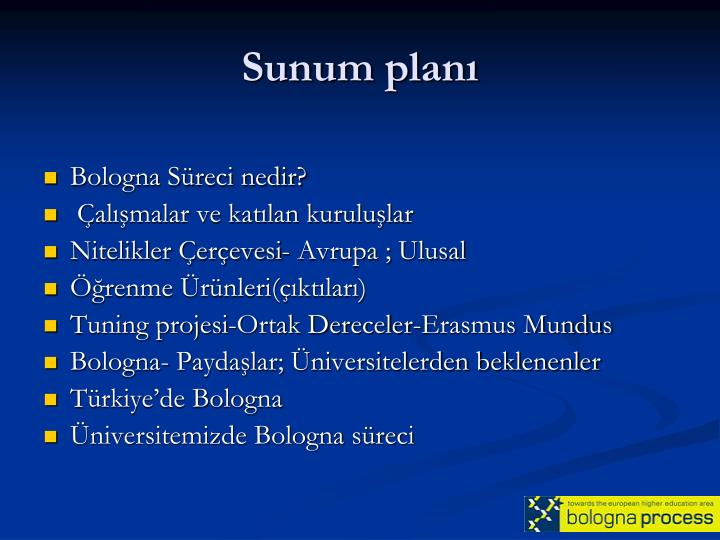 Sunum plan