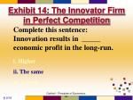 exhibit 14 the innovator firm in perfect competition1