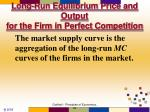 long run equilibrium price and output for the firm in perfect competition1