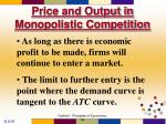 price and output in monopolistic competition1