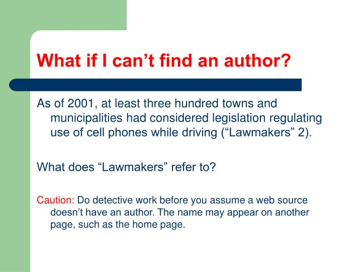 What if I can't find an author?