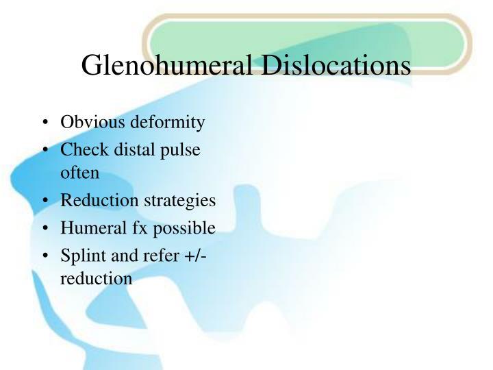 Glenohumeral Dislocations