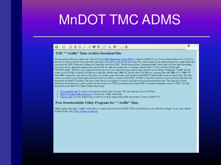 MnDOT TMC ADMS