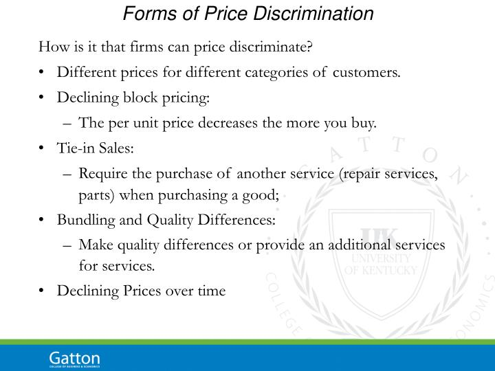 Forms of Price Discrimination