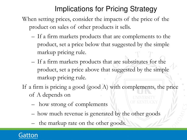 Implications for Pricing Strategy