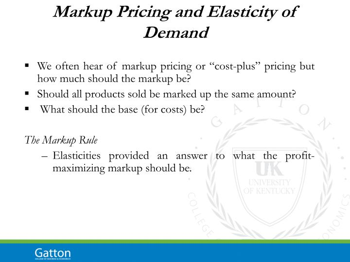 Markup Pricing and Elasticity of Demand