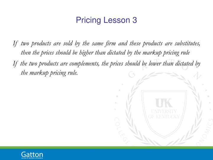 Pricing Lesson 3