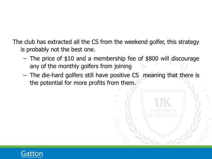The club has extracted all the CS from the weekend golfer, this strategy is probably not the best one.