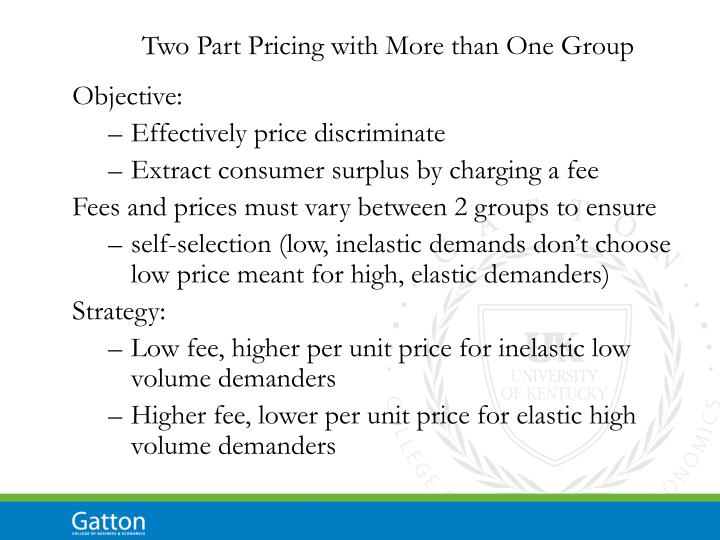 Two Part Pricing with More than One Group