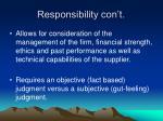 responsibility con t