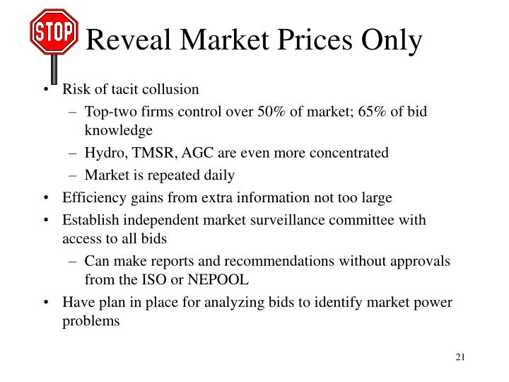 Reveal Market Prices Only