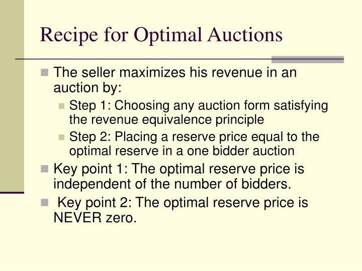 Recipe for Optimal Auctions