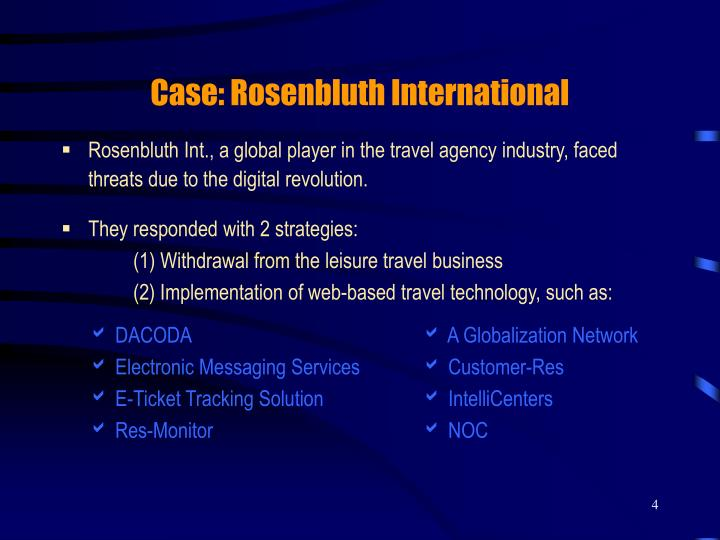 Case: Rosenbluth International