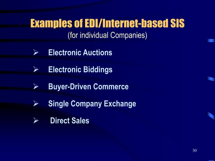 Examples of EDI/Internet-based SIS
