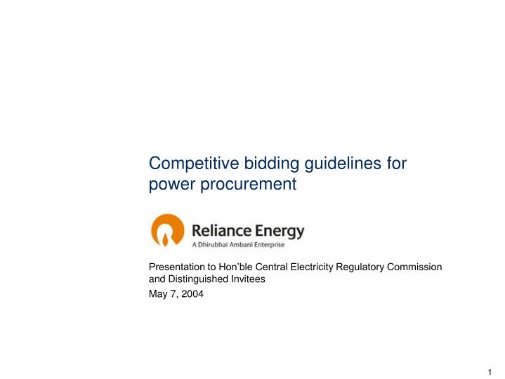 competitive bidding guidelines for power procurement n.