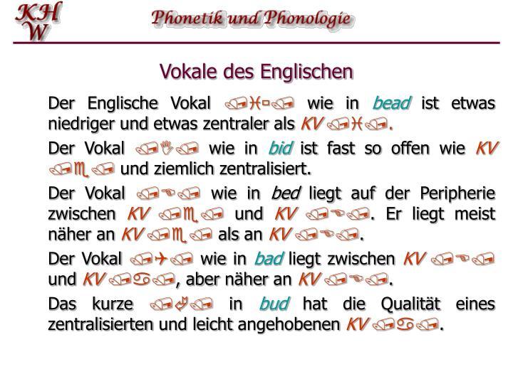 Vokale des Englischen