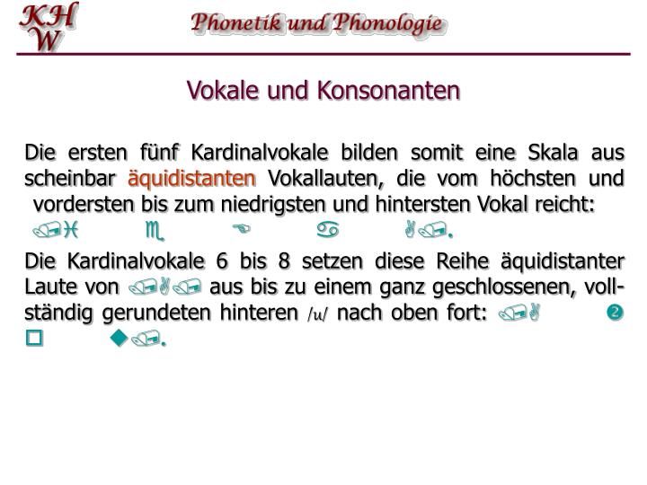 Vokale und Konsonanten