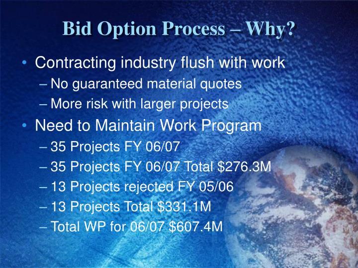 Bid option process why1