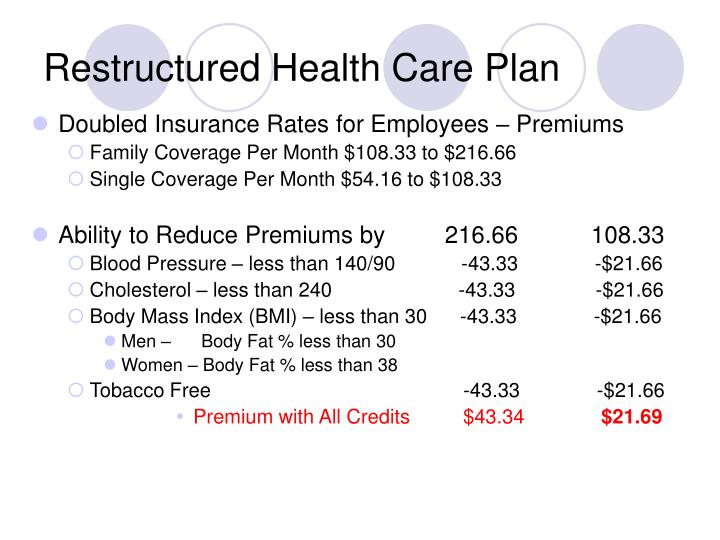 Restructured Health Care Plan