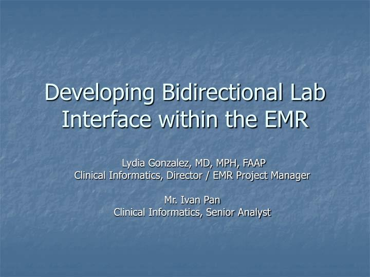 developing bidirectional lab interface within the emr n.