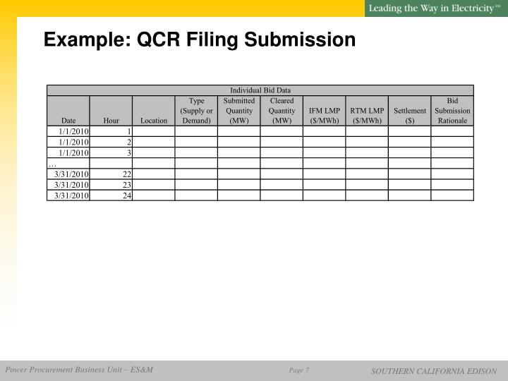Example: QCR Filing Submission