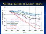 observed decline in glacier volume