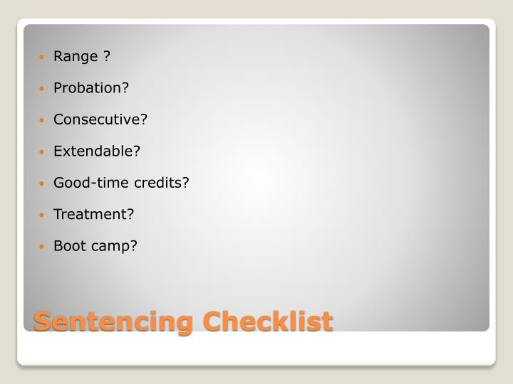 Sentencing checklist