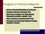 progress on previous reports
