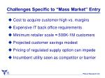 challenges specific to mass market entry