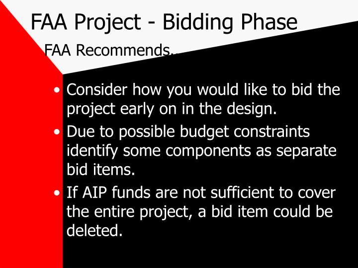 faa project bidding phase faa recommends n.