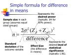 simple formula for difference in means