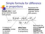simple formula for difference in proportions