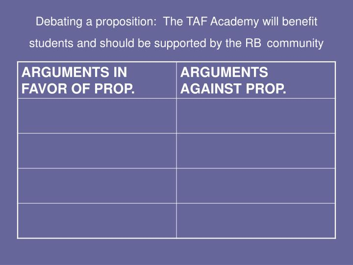 Debating a proposition:  The TAF Academy will benefit students and should be supported by the RB