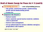 draft of atomic energy for peace act 3 cont d