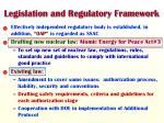 legislation and regulatory framework