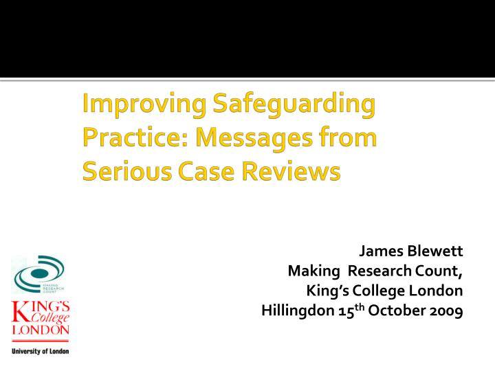 improving safeguarding practice messages from serious case reviews n.