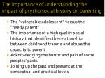 the importance of understanding the impact of psycho social history on parenting
