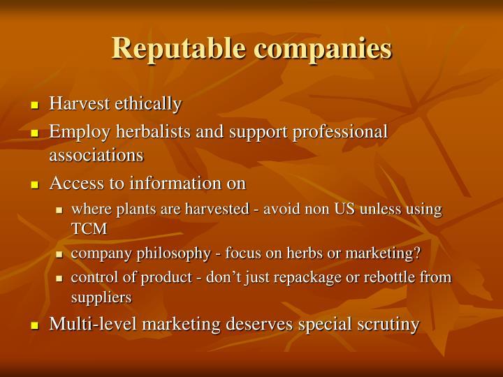 Reputable companies