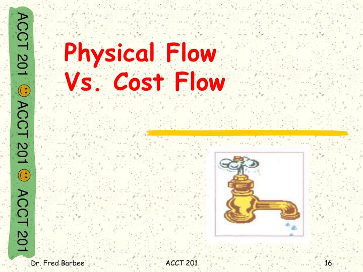 Physical Flow                   Vs. Cost Flow