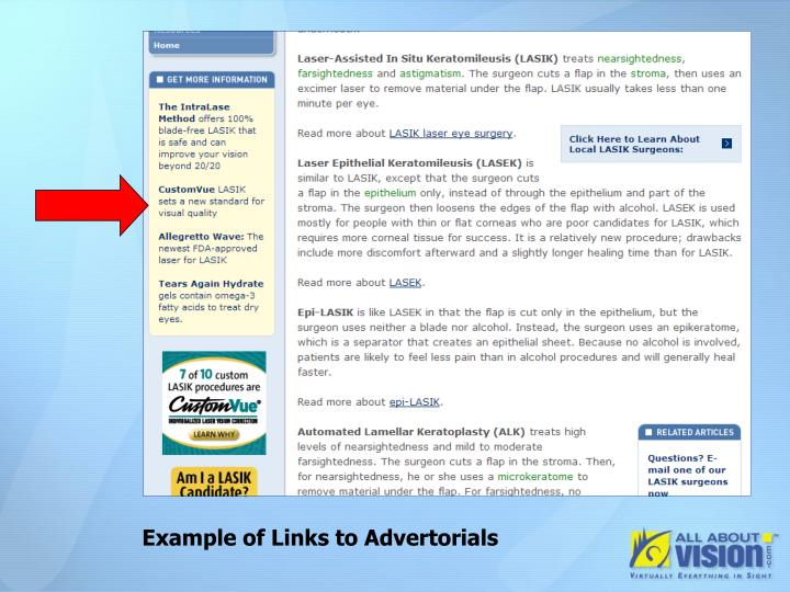 Example of Links to Advertorials