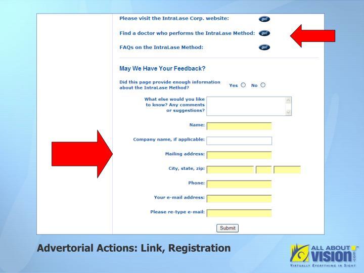 Advertorial Actions: Link, Registration