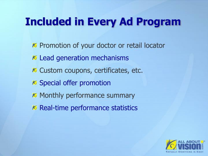 Included in Every Ad Program