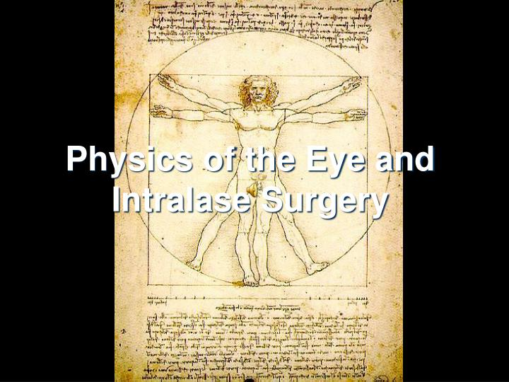 physics of the eye and intralase surgery n.