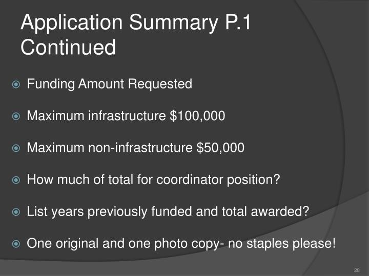 Application Summary P.1 Continued