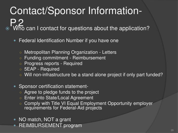 Contact/Sponsor Information- P.2