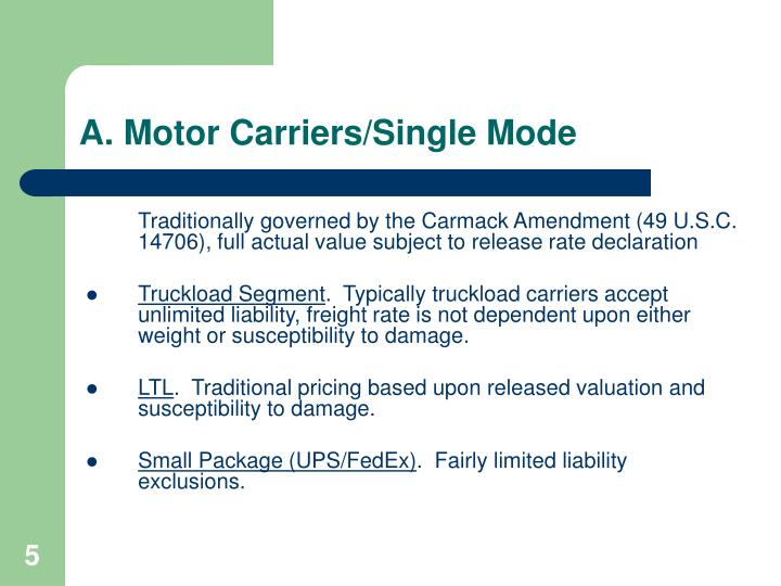 A. Motor Carriers/Single Mode